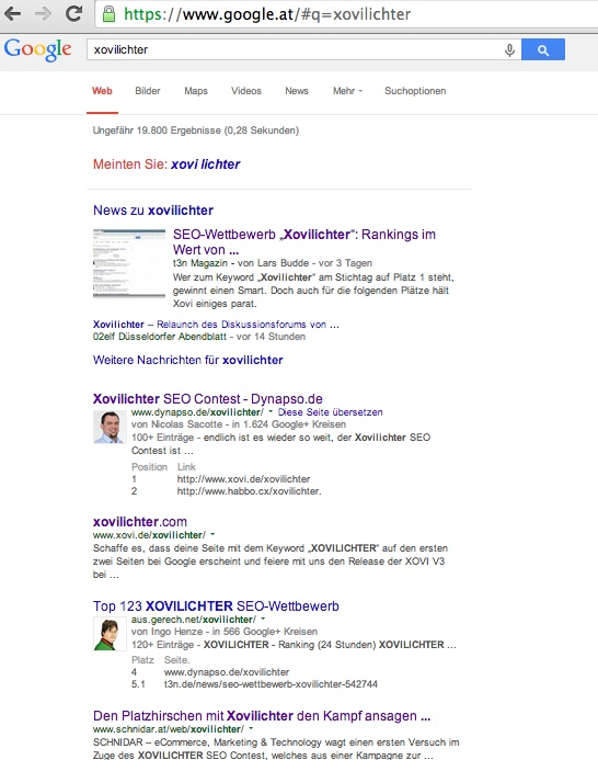 google.at, top 5, keyword: xovilichter
